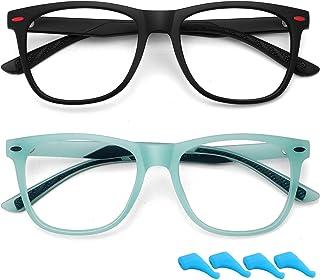 Kids Blue Light Blocking Glasses for Boys Girls Lightweight TR Computer Gaming Eyeglasses Frame Anti Eyestrain 2 Pack (Mat...
