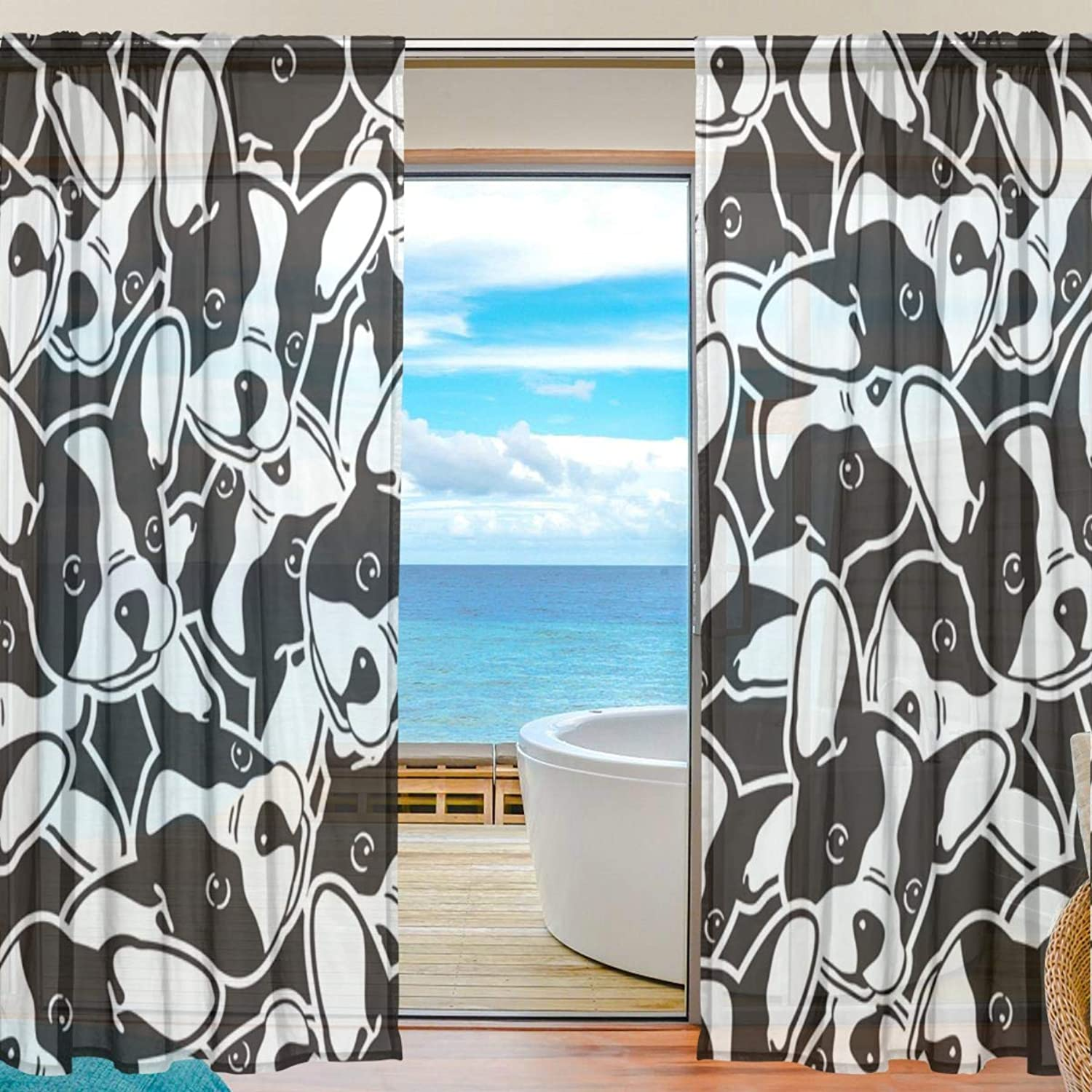 Pugs Pattern 2 Pieces Curtain Panel 55 x 78 inches for Bedroom Living Room