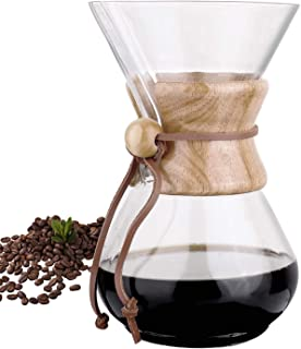 Phyismor Classic Pour Over Coffee Maker Carafe - 1100ml/37oz, Coffee Dripper Brewer Pot, with Borosilicate Glass, for Manual Home Made Drip Coffee