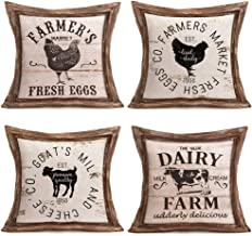 """Fukeen Vintage Wood Farm Animal Quote Decorative Throw Pillow Cases Fresh Eggs and Delicious Milk Dairy Cow Hen Cushion Covers Cotton Linen Rustic Farmhouse Decor Standard 18""""x18"""" Pillowcases, 4 Pack"""