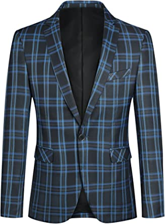 YOUTHUP Mens Slim Fit Check Blazer Formal Business 1 Button Casual Suit Jacket Blazers