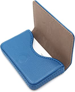 RFID Blocking Wallet - Minimalist Leather Business Credit Card Holder with Magnetic, Blue, Small