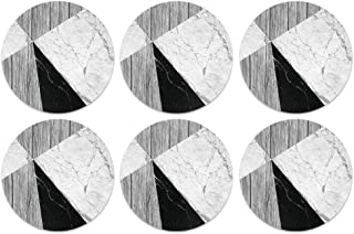 CARIBOU Coasters, Ray Dark Wood Marble Design Absorbent Round Fabric Felt Neoprene Coasters for Drinks, 6pcs Set