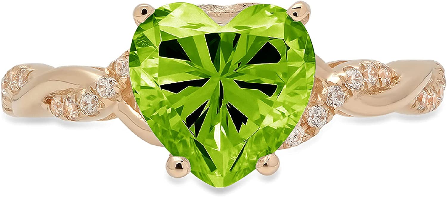 2.19ct Heart Cut Criss Cross Twisted Solitaire Accent Halo Genuine Flawless Natural Green Peridot Gemstone Engagement Promise Anniversary Bridal Wedding Ring Solid 18K Yellow Gold