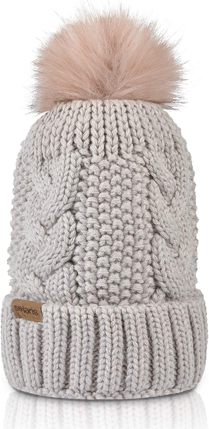 Cable Knit Beanie Warm Faux Max 72% OFF Fuzzy High quality Ski for Pom Skull Fur Cap