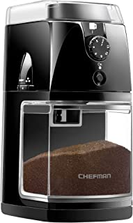 Chefman Coffee Grinder Electric Burr Mill Freshly 8oz Beans Large Hopper & 17 Grinding Options for 2-12 Cups, Easy One Touch Operation, Cleaning Brush Included, Black, (Renewed)