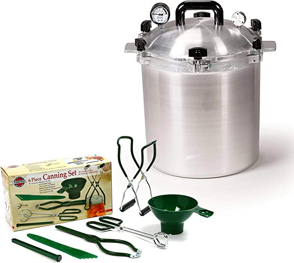 All American 25 QT Pressure Cooker Bundle With 2 Racks And Norpro Canning Essentials 6 Piece Box Set