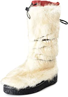 Men's Off White Leather & Real Fur Snow Boots Shoes US 11 IT 44