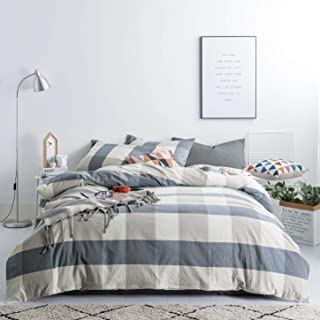 SUSYBAO 3 Pieces Duvet Cover Set 100% Natural Washed Cotton Queen Size 1 Duvet Cover 2 Pillowcases Luxury Soft Breathable Comfortable Durable Blue and Brown Checkered Plaid Bedding with Zipper Ties