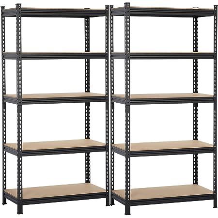 Black 5-Shelf Steel Shelving Unit Storage Rack Adjustable Garage Shelves Utility Rack Display for Home Office Garage 150 x 75 x 30cm 5 Tiers Powder Coated Storage Rack