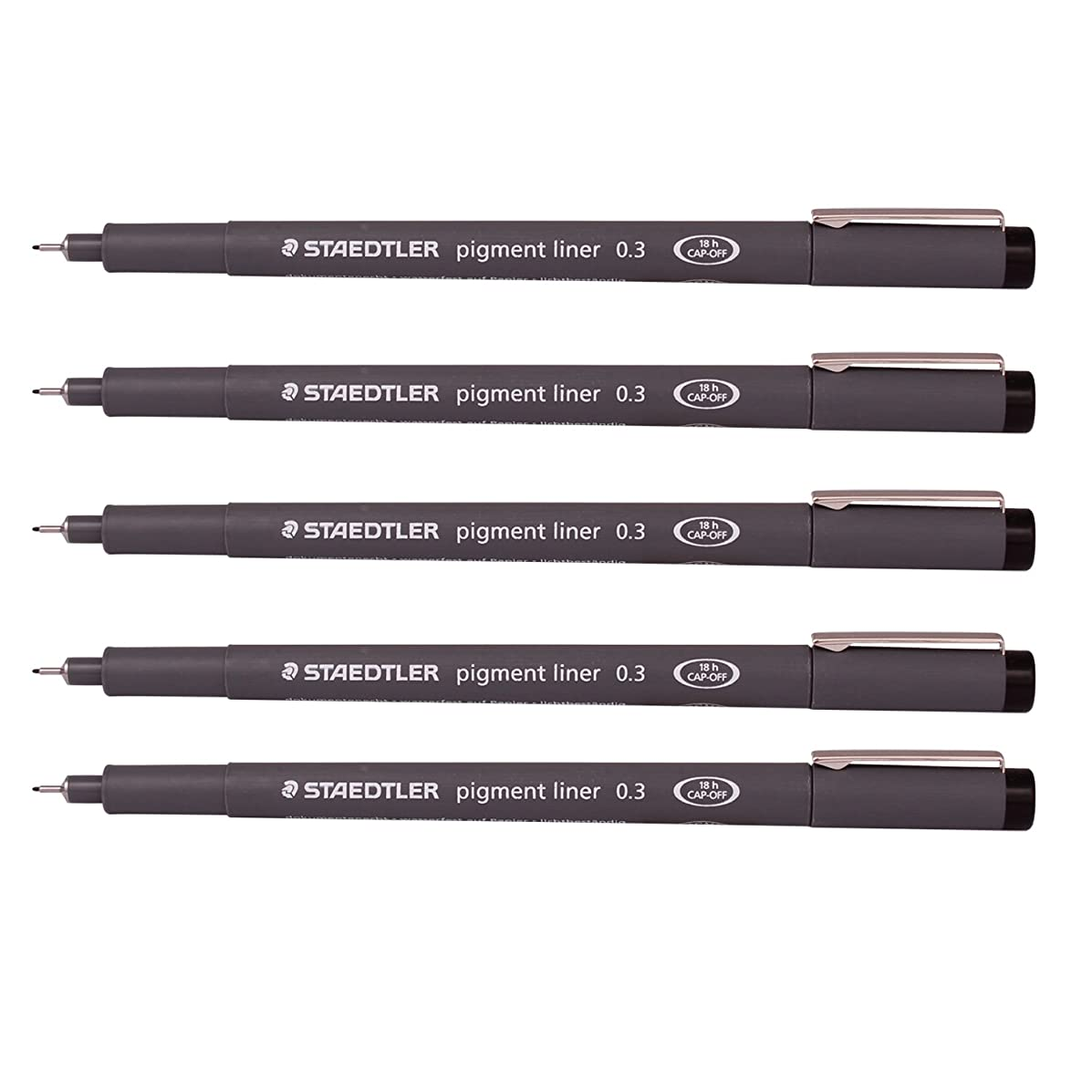 Staedtler 0.3 mm Pigment Liner Fineliner Sketching Drawing Drafting Pens Pack of 5