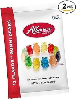 Albanese Candy 12 Flavor Gummi Bears 5 lb Bag, Assorted Gummi Bears (2 Pack)