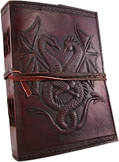 Handmade Vintage Leather Double Dragon Bound Journal Notebook Diary Sketchbook Travel Office Thought Blank Book Best Gift for Men & Women (Brown, 75