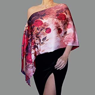 e255b1ad4f9a7 Silky Pink Wedding Shawl Red Rose Wrap Off The Shoulder Top By ZiiCi