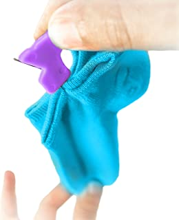 Socks Clip by Sock Saver - Washer/Dryer Safe Holder for Thick/Thin Sock Pairs, Organization Gift (8 Blue & 8 Purple)