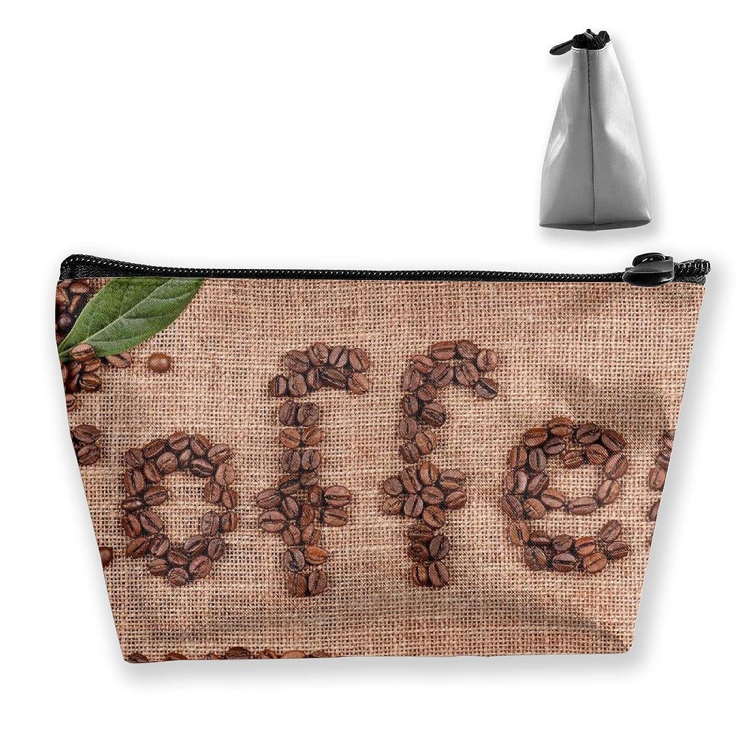 Makeup Bag Cosmetic Creative Coffee Bean Design Portable Bag Mobile Trapezoidal Storage Bag Travel Bags With Zipper