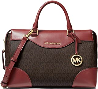 MICHAEL MICHAEL KORS Maya Large Logo and Leather Satchel Handbag For Women - Brown/Brandy