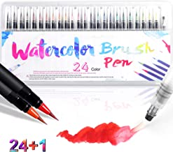 Watercolor Brush Pens 24 Colors Soft Painting Pens Water-Based Ink Pen Set with Flexible Fiber Brush Tips For Adult and Kids Drawing Coloring Calligraphy Writing Professionals and Beginner Painters