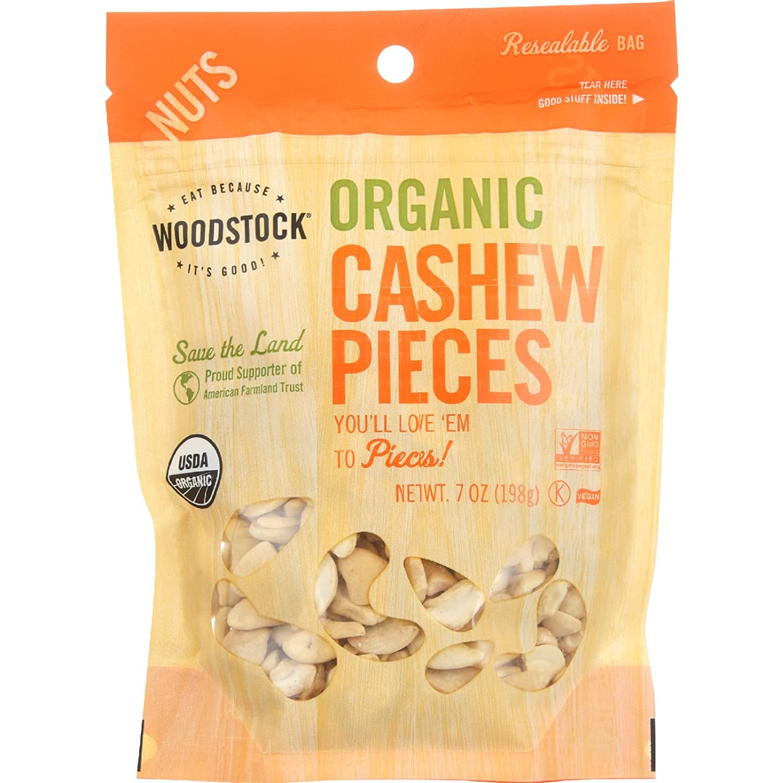 Woodstock Nuts - Organic Save Denver Mall money Cashews Pieces Fancy Raw 7 oz