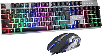 Gaming Keyboard and Mouse Combo,Wired LED Rainbow Backlit Gaming Keyboard,104 Keys USB..