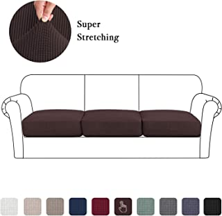 High Stretch Seat Cushion Cover Sofa Cushion Furniture Protector fot Sofa Seat Sofa Slipcover Sofa Cover Soft Flexibility with Elastic Bottom (3 Pieces Cushion Covers, Brown)