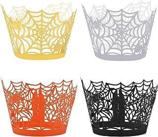 Yookat 100 Pieces Halloween Cupcake Wrappers Spider Cupcake Wrapper Cupcake Liners Spiderweb Halloween Cupcake Liners for Halloween Party Decorations