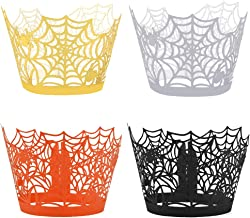 Yookat 100 Pieces Halloween Cupcake Wrappers Spider Cupcake Wrapper Cupcake Liners Spiderweb Halloween Cupcake Liners for ...