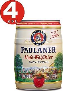 4 x Paulaner Hefe-Weissbier naturtrüb naturalmente nublado cerveza de trigo 5,5% vol cerveza barril 5 litros