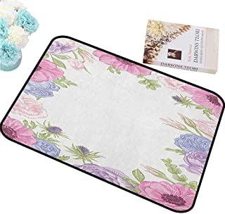 HCCJLCKS Interior Door mat Anemone Flower Hand Drawn Framework with Fresh Summer Flora Bridal Wedding Theme Will not Fade W24 xL35