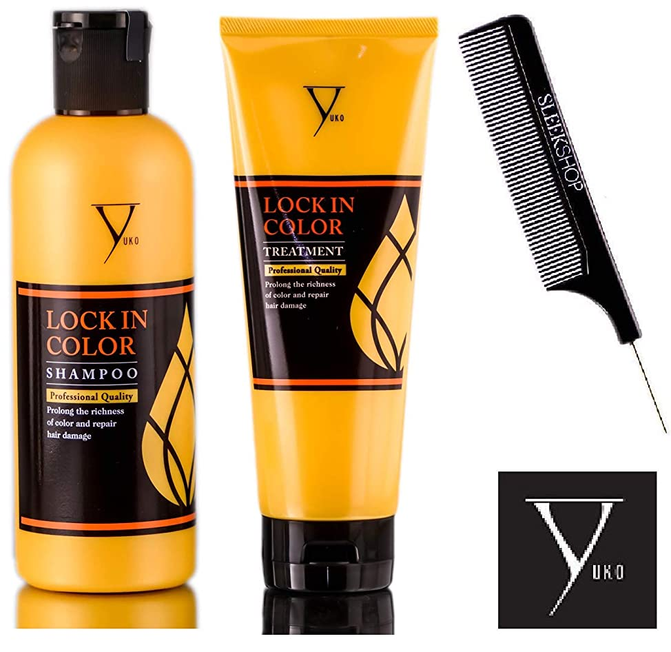 Yuko LOCK IN COLOR Shampoo & Treatment (STYLIST KIT) Prolong Richness of Color and Repair Hair Damage (10.1 oz + 8.5 oz)
