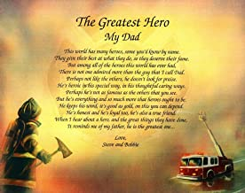 NAMES TO REMEMBER What's in a Name? Customize.The Greatest Hero Personalized Fireman Firefighter Poem Gift for Father's Day, Birthday, Christmas Or Any Day