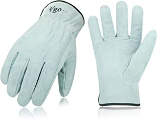 Vgo 3Pairs Unlined Cowhide Split Leather Work and Driver Gloves for Heavy Duty, Truck Driving, Warehouse, Gardening, Farm (Size L, White,CB9501)