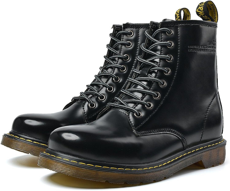 Herren Ankle Cotton Stiefel Flache Ferse Lace Up Echtes Leder Vamp Schuhe (Farbe   Schwarz, Gre   7MUS)