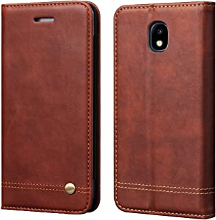 J3 2018/Amp Prime 3 2018/Galaxy J3 Achieve/J3 V 2018/Express Pime 3/J3 Star/Galaxy Sol 3 Case,RUIHUI Flip Leather Wallet Flip Protective Case Cove for Samsung Galaxy J3 2018[Classic Edition] (Brown)