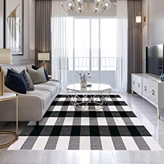 FEIAA Buffalo Plaid Rug 5X7 Black and White Rugs Indoor Outdoor Carpet Washable Modern Check Area for Checkered Kitchen Living Room Bedroom Farmhouse Entryway