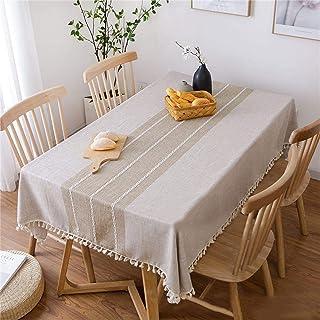 """رومیزی سفره ای ملافه ای نخی Vonabem Tassel برای سفره آشپزخانه مستطیل و مستطیل سفره بدون چین و چروک (58 """"x86"""" ، 6-8 صندلی ، قهوه)"""