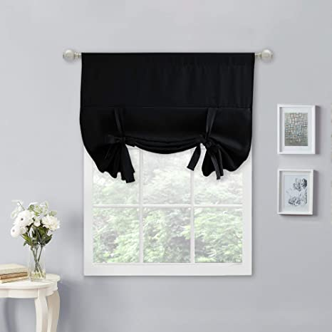Amazon Com Nicetown Tie Up Curtains For Windows Blackout Small Kitchen Curtain Bathroom Window Treatment Curtain Shade 1 Piece Black 34 Inches W X 45 Inches L Home Kitchen