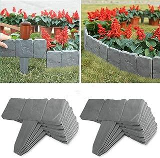 U-smile Garden Edging,Gardening Imitation Stone Garden Fence Brick Effect Garden Border Plastic Lawn Edge Flower Protection Grass Path Edge Border Landscape Decorative, 20pcs (5M)