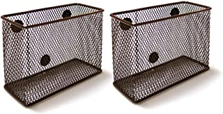 Wire Mesh Magnetic Storage Basket Brown(Set of 2), Container, Desk Tray, Office Supply Accessory Organizer for Refrigerator/Microwave Oven or Magnetic Surface in Kitchen or Office
