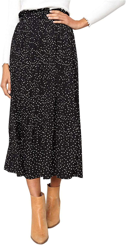 DXYDSC Women's Casual A-line Skirt for Elastic High Waist Polka Dot Pleated Maxi Swing Skirt