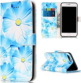 iPhone 7 Plus Wallet Case, iPhone 8 Plus Case,Voanice Card Holder ID Slot with Kickstand PU Leather Wallet Case Flip Folio Cover Shockproof Protective for Apple iPhone 8 Plus/7 Plus&Stylus-Blue Flower