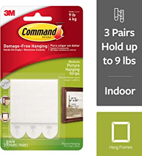 Command Picture Hanging Strips, Medium, White, 3-Pairs (17201-ES)