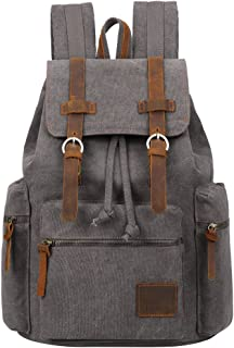 Berchirly Vintage Men Casual Canvas Leather Backpack Rucksack Bookbag Satchel Hiking Bag