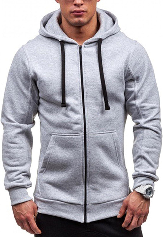 Men's Hoodies Sweatshirt Solid Stitching Drawstring Slim Fit Fashion Jacket Zipper up Runing Sport Outwear Coat