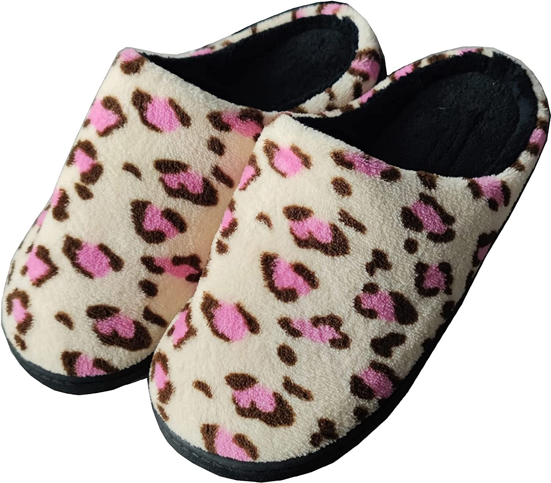 LMLALML Womens Leopard Slippers Non-slip bedroom slippers women Indoor Outdoor womens house slippers with Rubber Soles