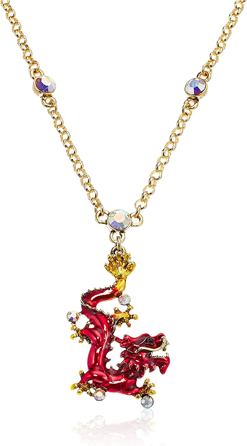 Superchic Red and Blue Enamel Chinese Dragon Necklace Embedded with Austrian Crystals and Gold Plating (Blue)