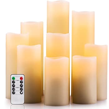 Ivory Color Enpornk Set of 12 Flameless Candles Battery Operated LED Pillar Real Wax Flickering Electric Unscented Candles with Remote Control Cycling 24 Hours Timer