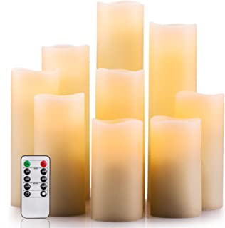 """Enpornk Flameless Candles Battery Operated Candles 4"""" 5"""" 6"""" 7"""" 8"""" 9"""" Set of 9 Ivory Real Wax Pillar LED Candles with 10-Key Remote and Cycling 24 Hours Timer"""