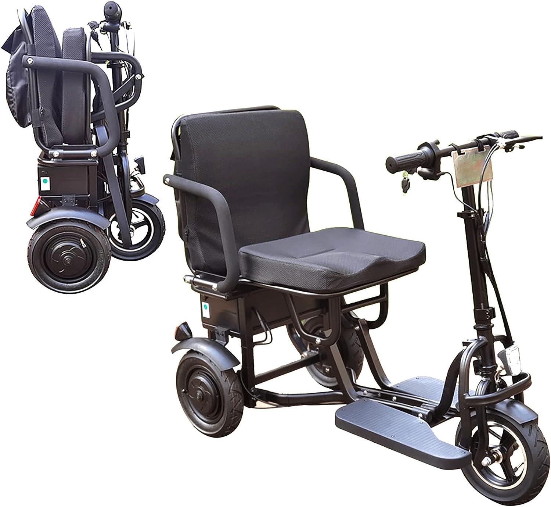 Scooters Eléctricos Plegables De 3 Ruedas, Triciclo Compacto Ligero Portátil Scooter De Movilidad Silla De Ruedas Móvil Eléctrica Con Asiento Para Adultos Ancianos Discapacitados Viaje (Negro)