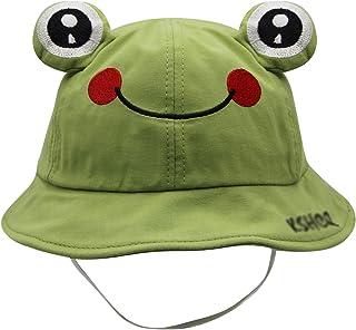 Cute Frog Kids Bucket Hats Cotton Wide Brim Fisherman Cap Sun UV Protection Hat for Toddler Girls Boys